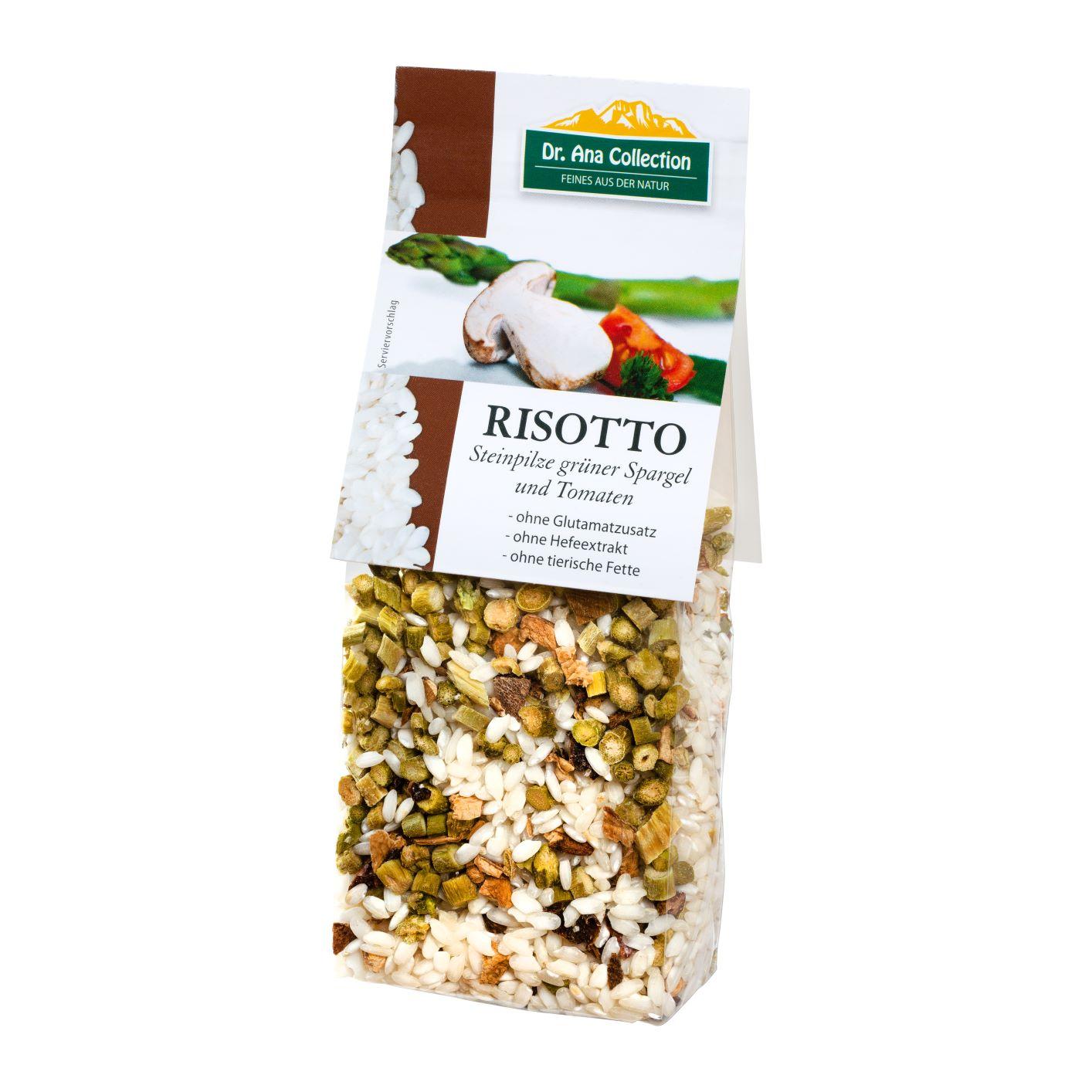 Risotto Steinpilze, grüner Spargel, Tomaten
