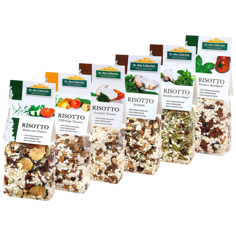 Dr. Ana - Risotto Probierpaket mit Steinpilze, Pfifferlinge, Gemüse und Kräutern